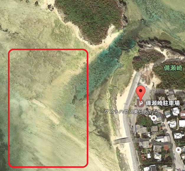 Children can also swim with tropical fish Bisesaki Beach Overhead Photo