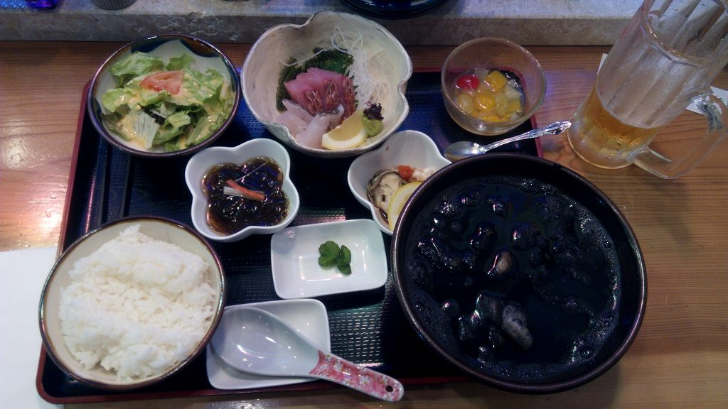 squid ink soup set meal of Tarajisabira