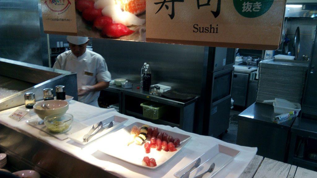 sushi, pasta and salad