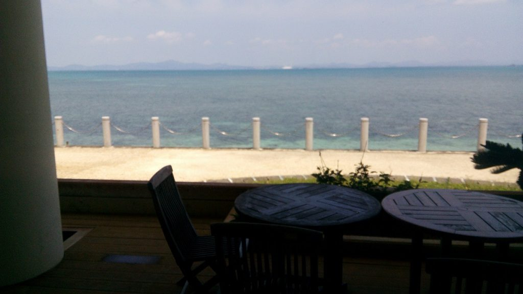 A beautiful sea of Okinawa seen from the restaurant Ayahashi