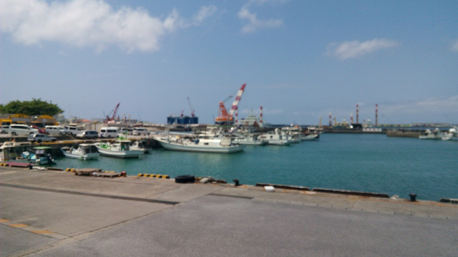 Naha port seen from Seafood Engan