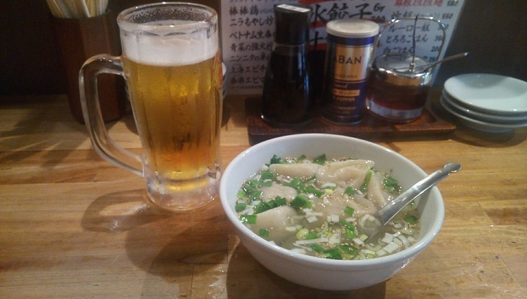 soup dumplings and beer