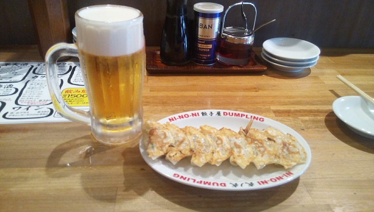draft beer and fried dumplings