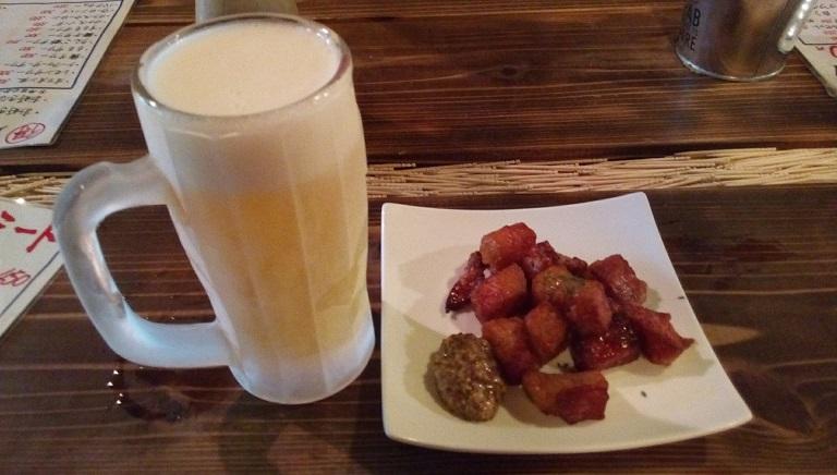 ショルダーベーコンと生ビール