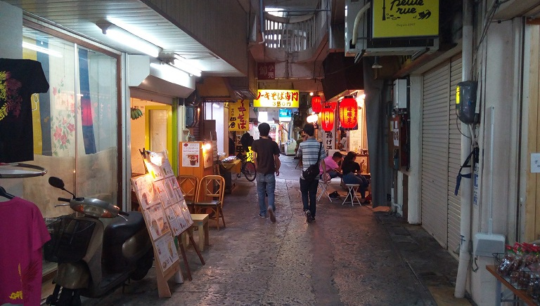 side street becoming a sacred place for drinking in Okinawa