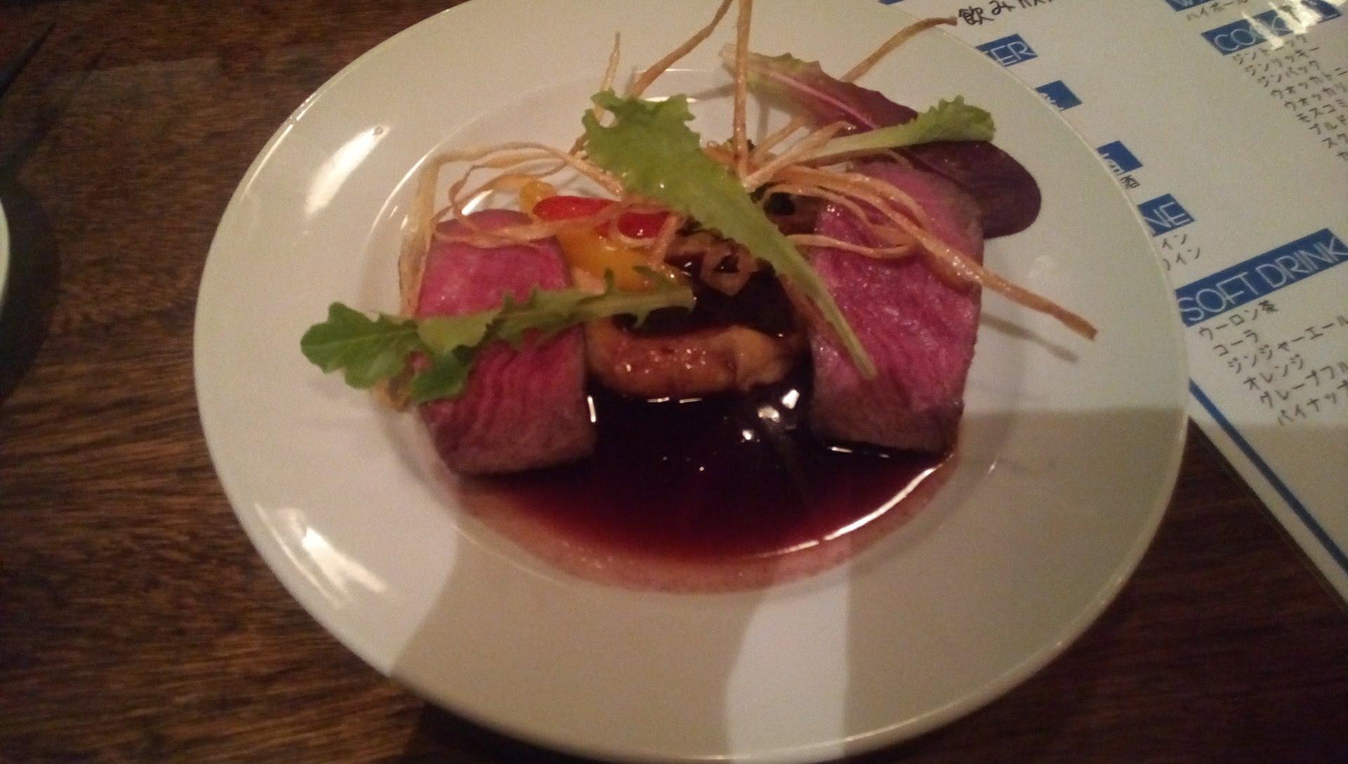 牛肉のロースト 柚子胡椒香る赤ワインソース