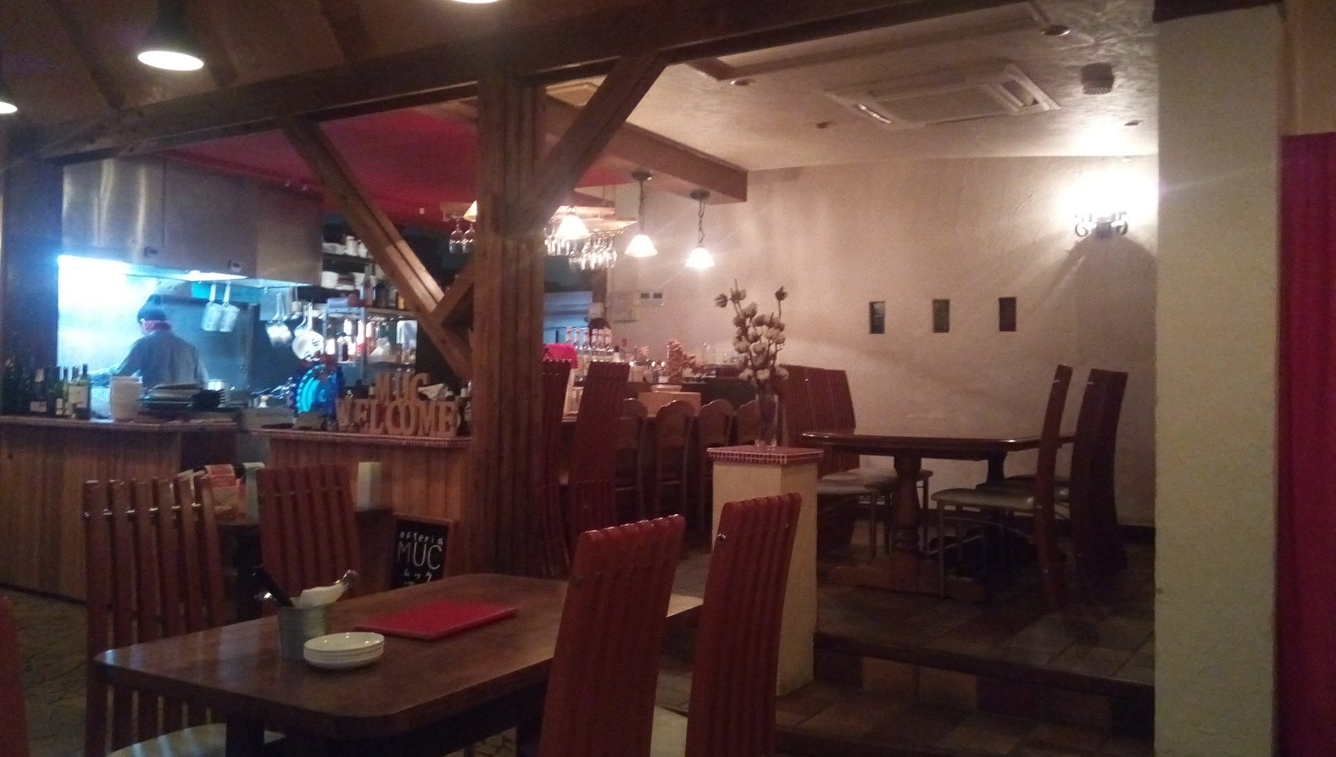 The interior is the atmosphere of a small cute Italian restaurant based on trees
