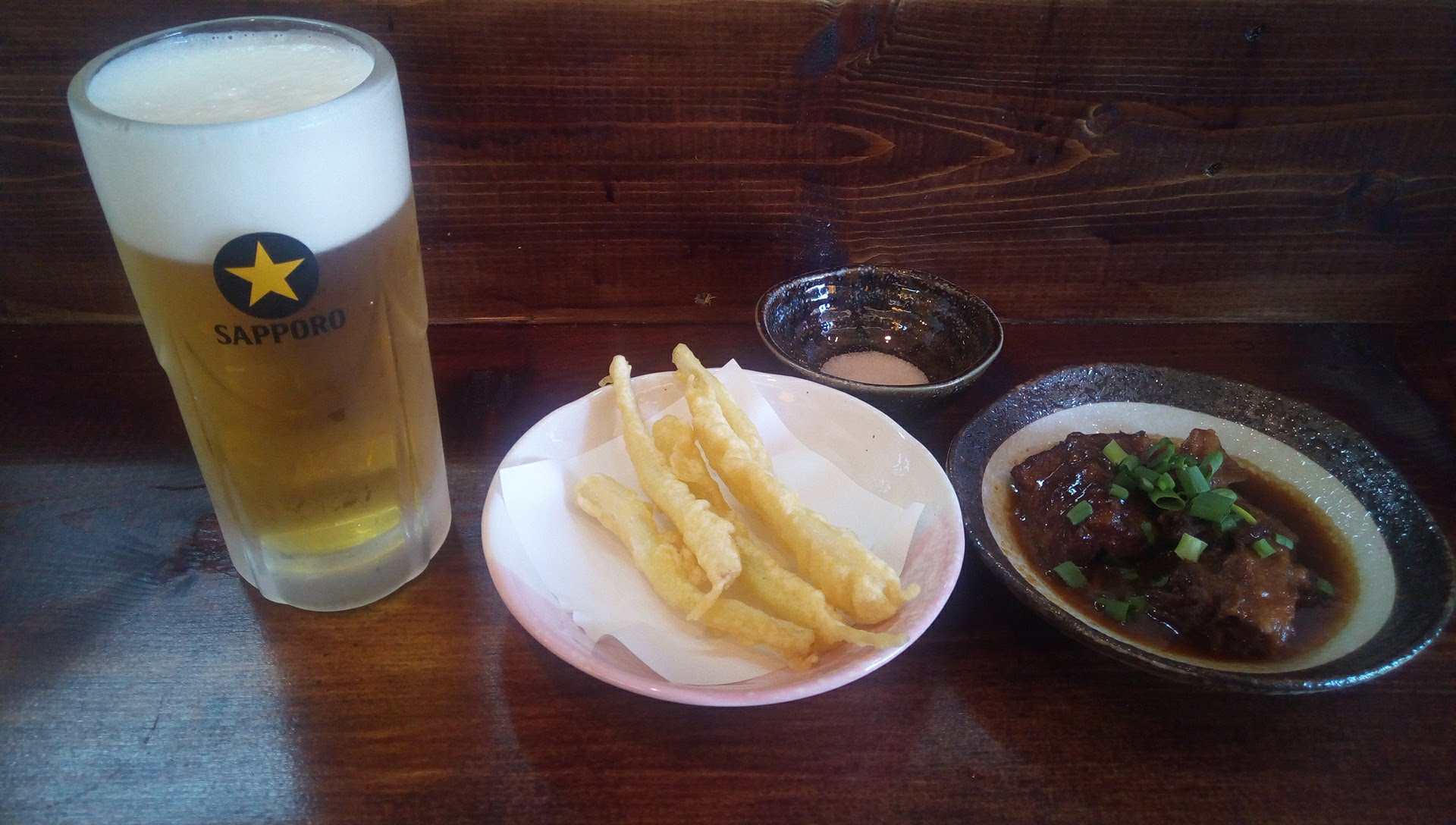 Island Shallots Tempura, cartilage Soki and cold beer