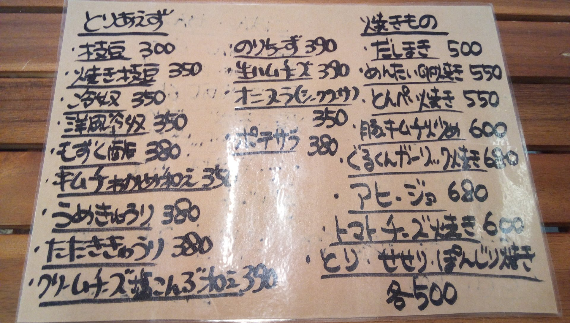 Food menu of En-Dining 1