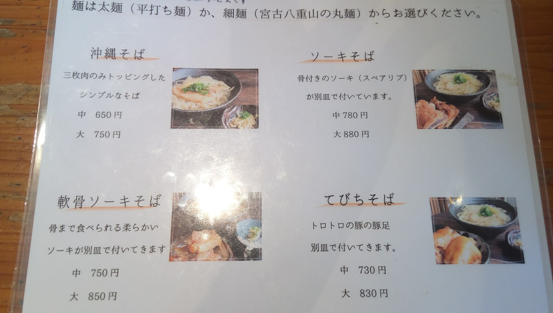 the menu of Teianda 1