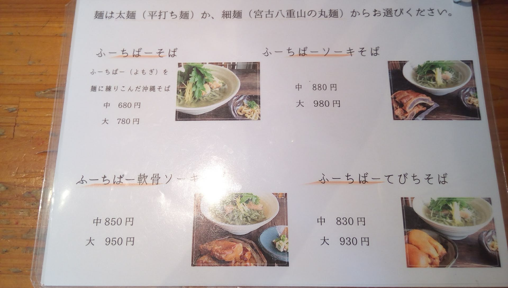 the menu of Teianda 2