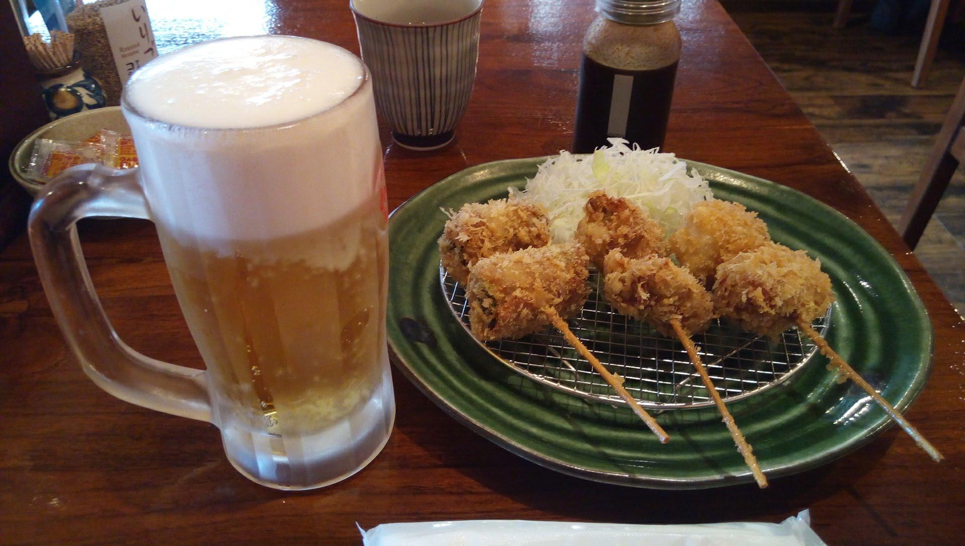 生ビールと串揚げ