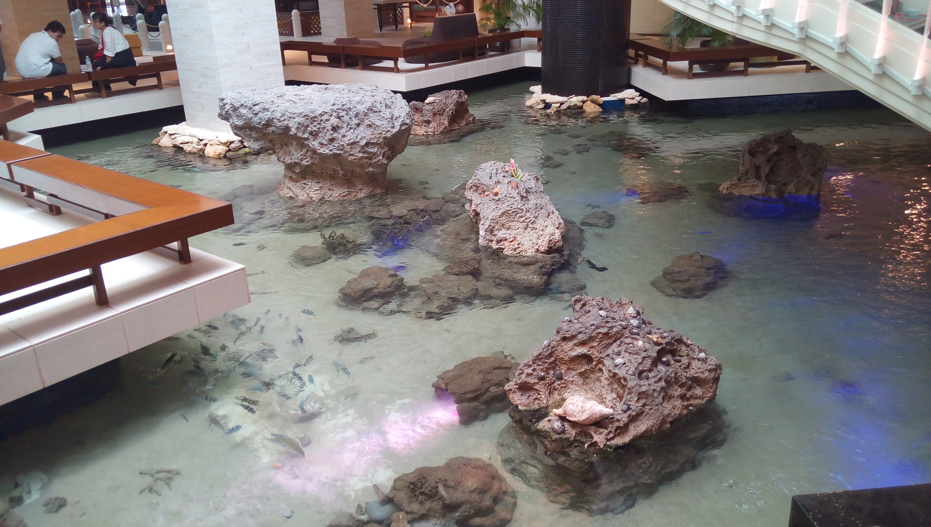 The inside of the hotel has become a space that reproduced the sea of Okinawa
