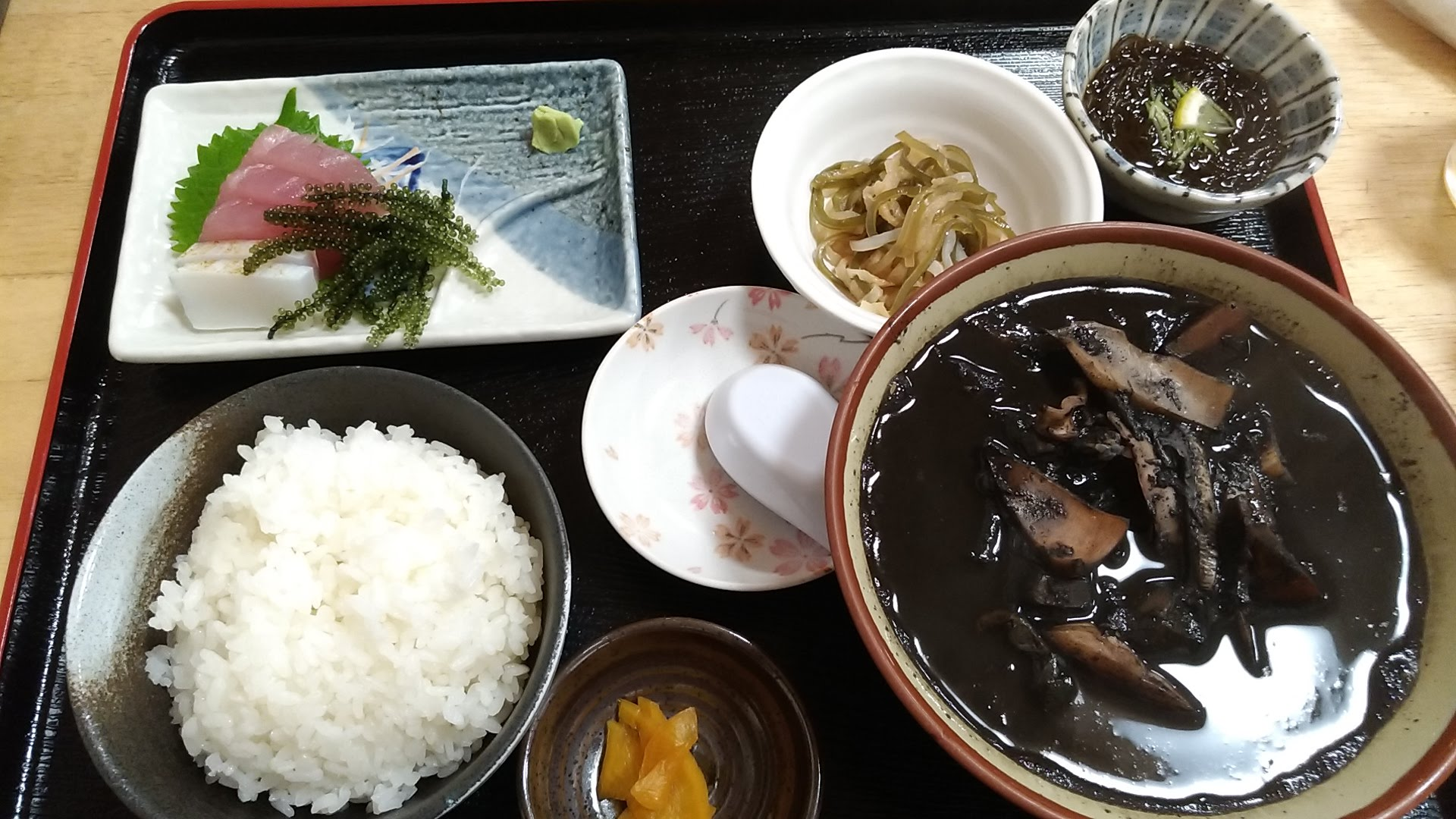 set meal of squid ink soup