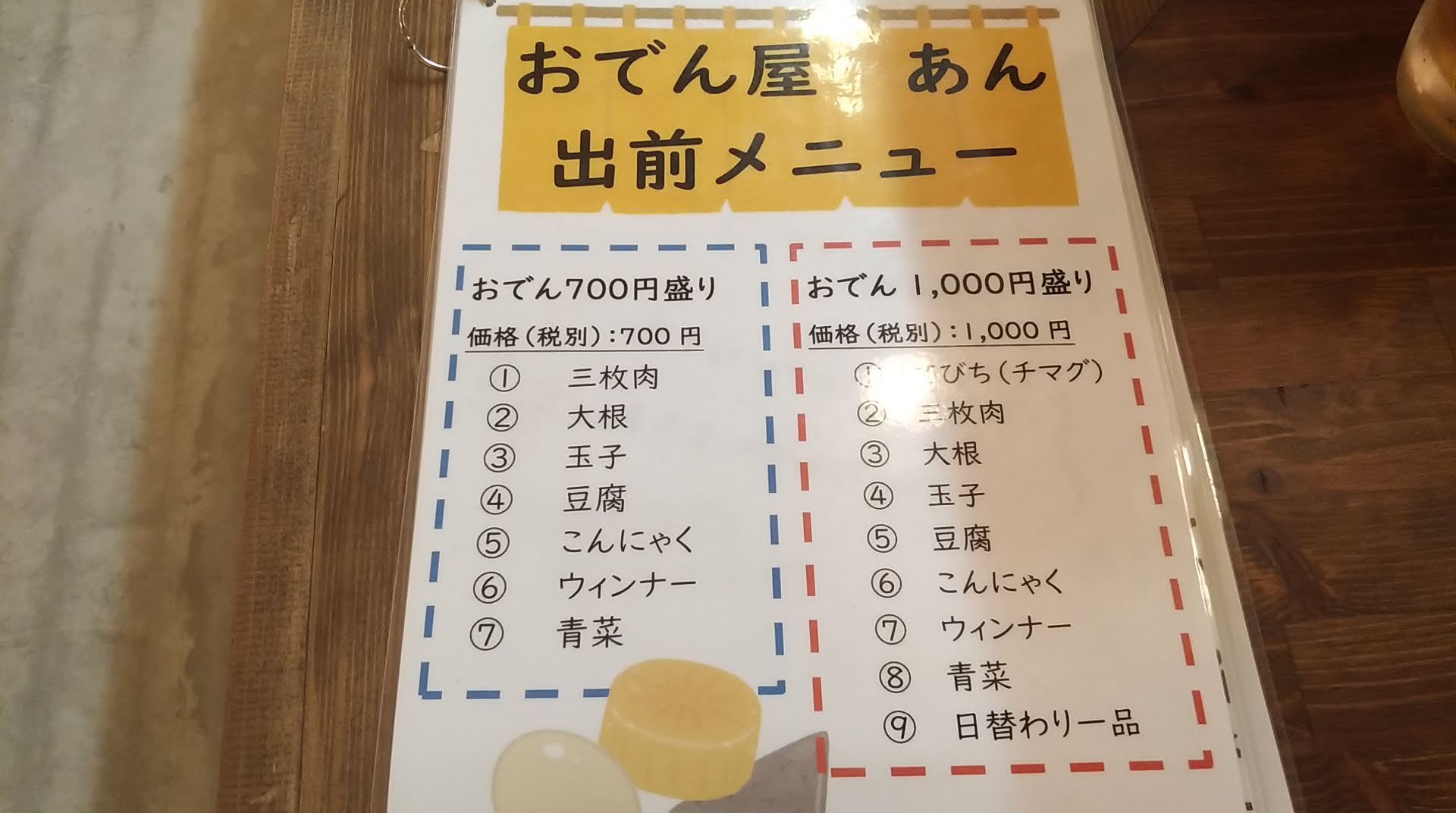 the delivery menu of Odenya-An