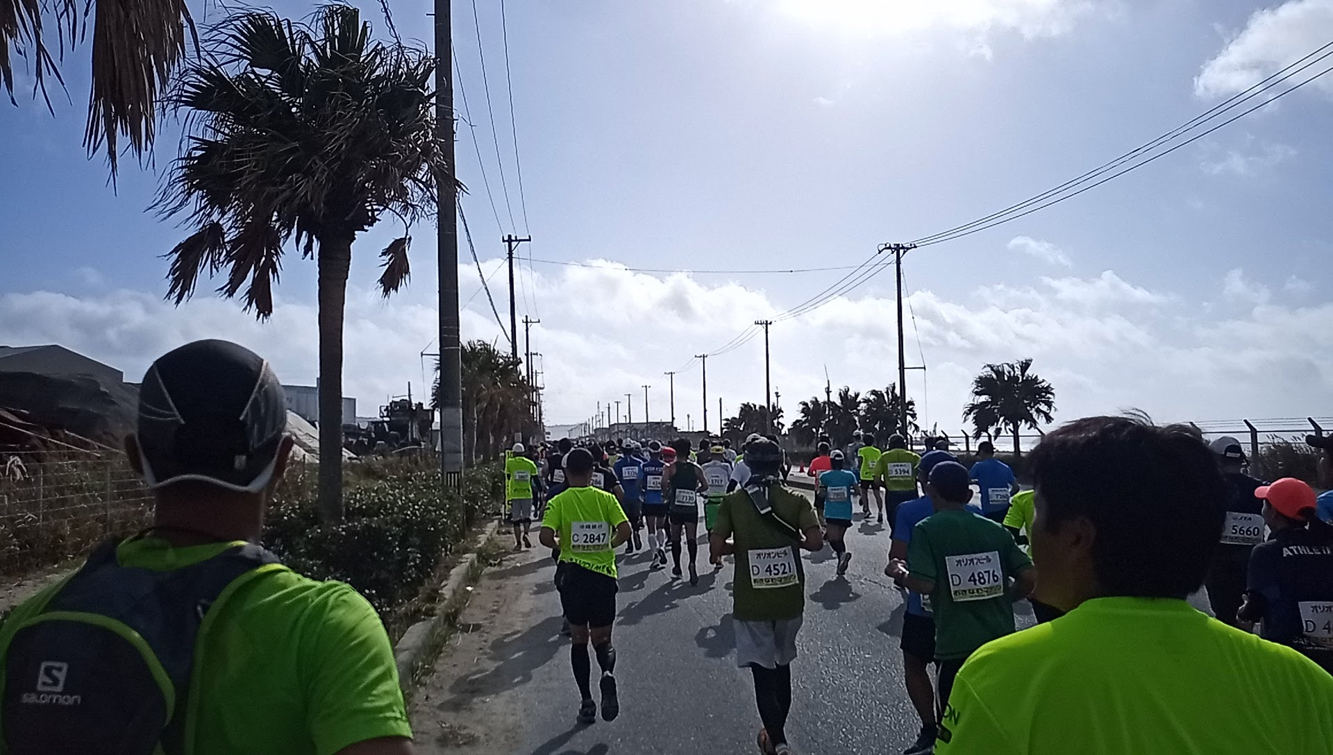 The sun was tight and hot right after the start of the Okinawa Marathon